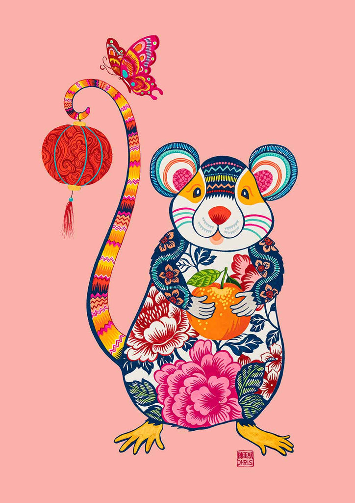 Papercut Rat Chinese Zodiac Fine Art Print by Artist and Textile Designer Chris Chun