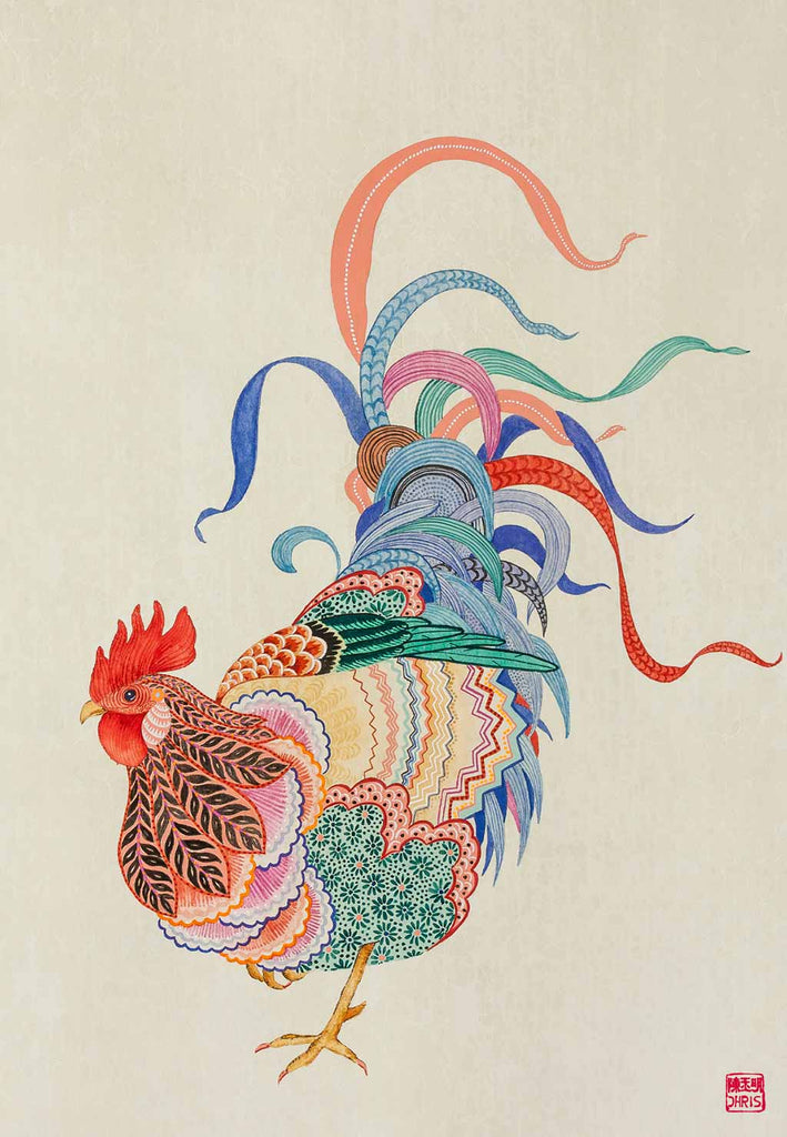 Chinese Zodiac Rooster Fine Art Print by Australian Chinese Artist Chris Chun. The perfect gift for those born in 1933, 1945, 1957, 1969, 1981, 1993, 2005, 2017 as they have been created to bring good fortune, health and prosperity to their owners!