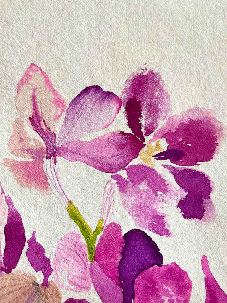 Original Orchid Still Life Painting by Artist Chris Chun who is a renowned Chinoiserie Artist and Textile Designer.