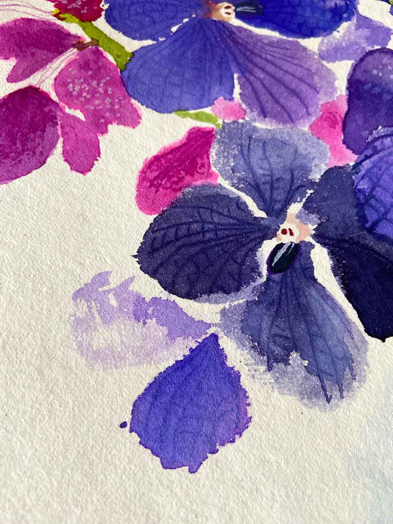 Original Ink Painting of the Purple Cattelya Orchid by Artist Chris Chun