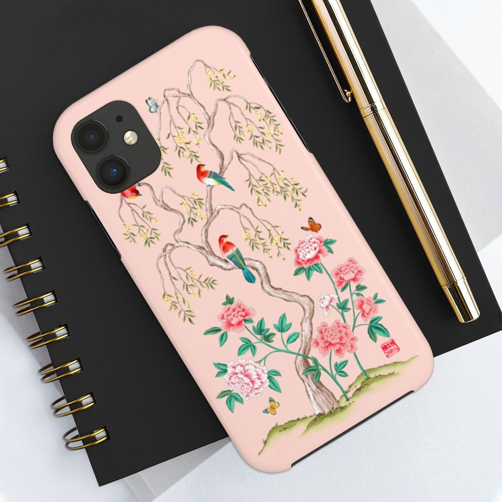 Chinoiserie Floral iPhone Case and Chinoiserie Floral Samsung Phone Cover featuring watercolour Chinoiserie peony roses. Chinese art phone with decorative birds and butterflies. Impact resistant tough chinoiserie mobile phone case. Supports wireless charging. Designer mobile phone case made in the USA.