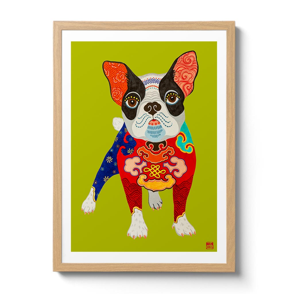 Australian Chinese Artist Chris Chun has created a charming Chinese Zodiac Dog Fine Art Print. Looking resplendent in the emperor's new clothes, this French Bulldog is the master of his domain and destiny.