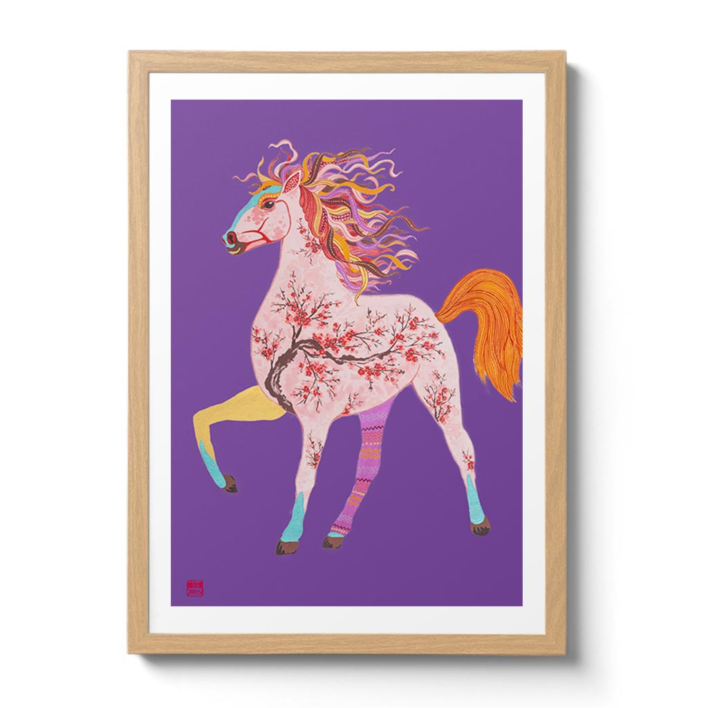 Chinese Zodiac Horse Fine Art Print. Available Framed/ Unframed. A unique and ideal present for those born in Year of the Horse -  1930, 1942, 1954, 1966, 1978, 1990, 2002, 2014, 2026.
