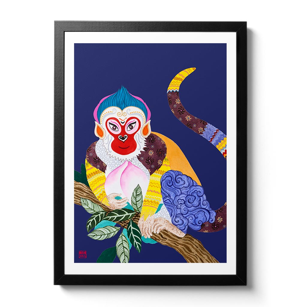 Chinese Zodiac Monkey Fine Art Print. Available Framed/ Unframed. A unique and ideal present for those born in Year of the Monkey - 1932, 1944, 1956, 1968, 1980, 1992, 2004, 2016.