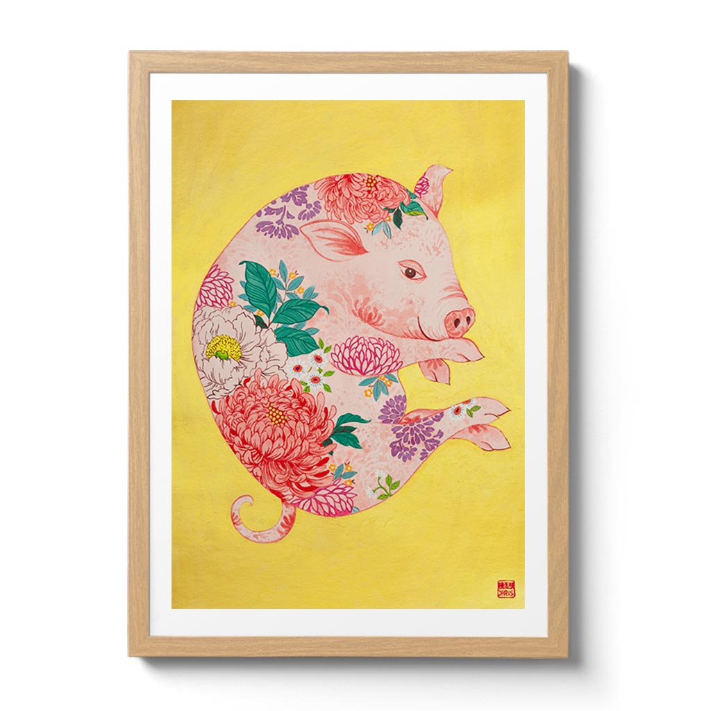 Chinese Zodiac Pig Fine Art Print. Available Framed/ Unframed. A unique and ideal present for those born in Year of the Pig - .1935, 1947, 1959, 1971, 1983, 1995, 2007, 2019