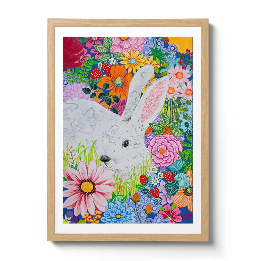 Chinese Zodiac Rabbit Fine Art Print by Artist Chris Chun.  This print makes a gorgeous and unique gift idea for those born this year and in other rabbit years - 1927, 1939, 1951, 1963, 1975, 1987, 1999, 2011, 2023.