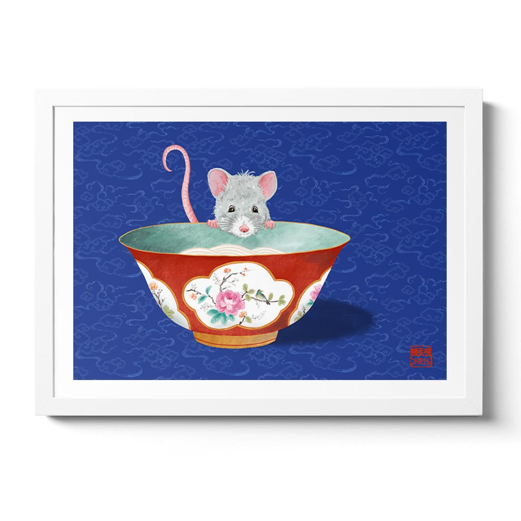Chinese Zodiac Rat Wall Art created by Australian Chinese artist Chris Chun. Chinoiserie Rat Fine Art Print