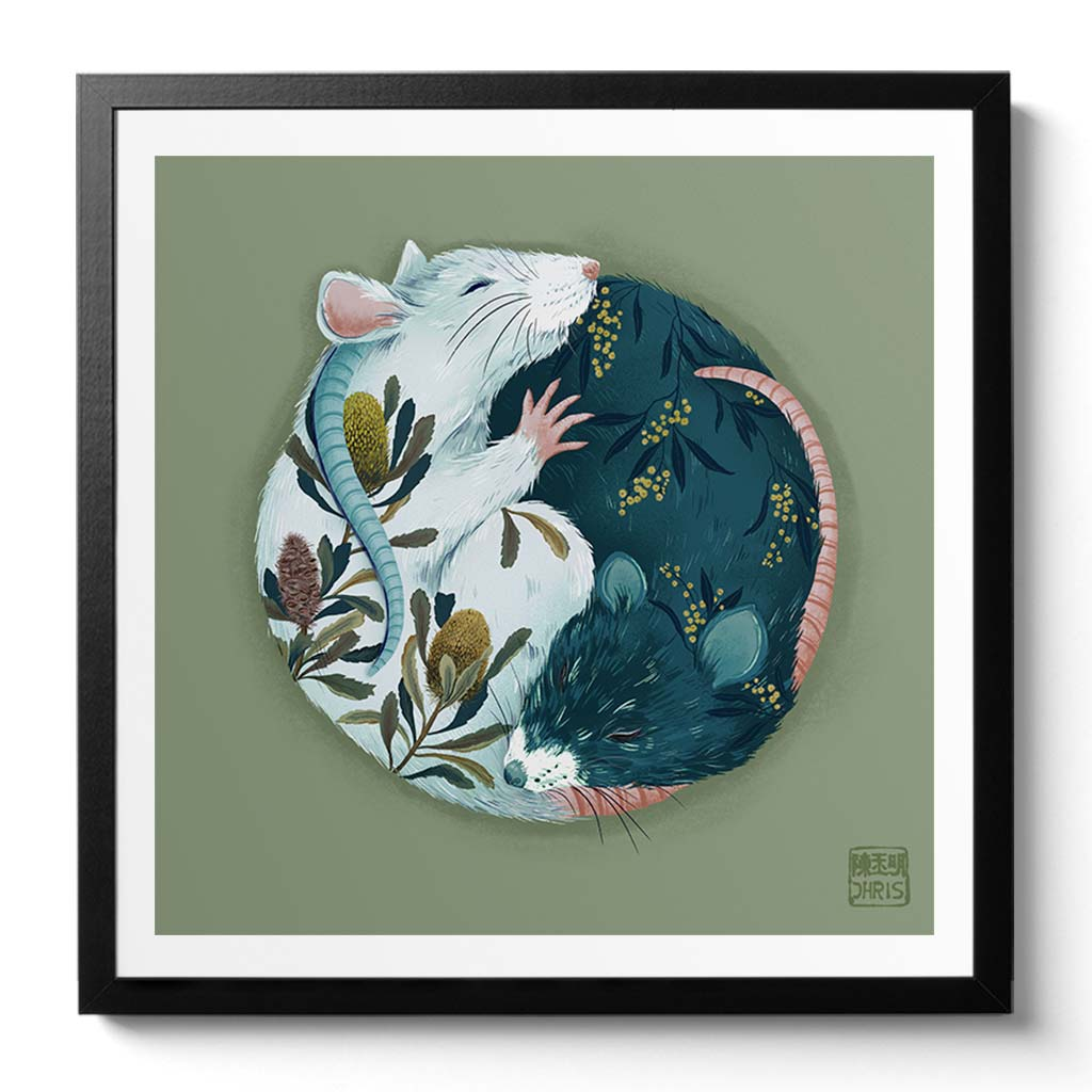 Yin and Yang Native Flora. Chinese Zodiac Rat Art created by Australian Chinese artist Chris Chun.