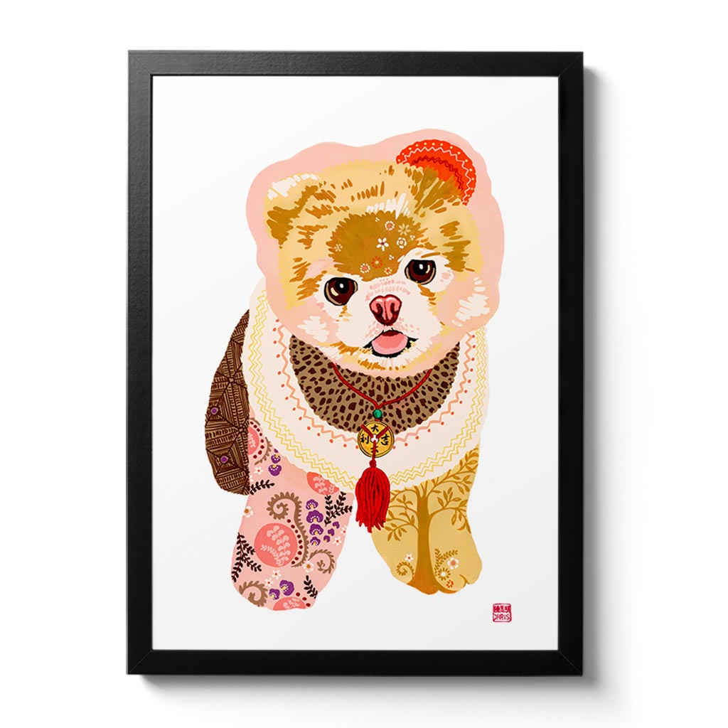 Chinese Zodiac Wood Dog Fine Art Print by Australian Chinese artist Chris Chun. Each dog is based on the 5 elements - earth, fire, metal, water and wood. Pomeranian Dog Art.
