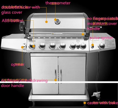 SUS304 outdoor gas bbq grill eight burners