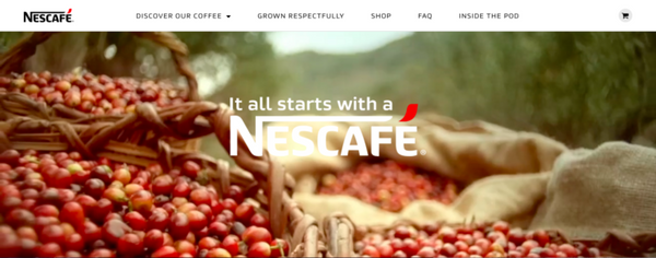 nescafe shopify site example