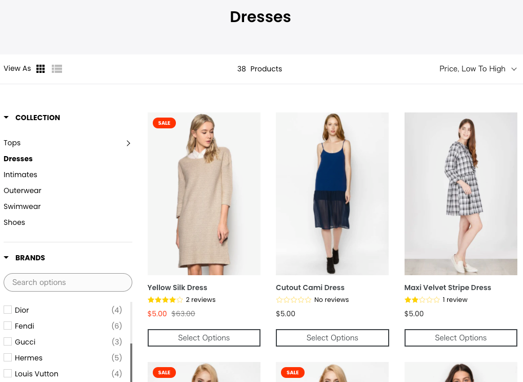 Shopify サイト product filter & search