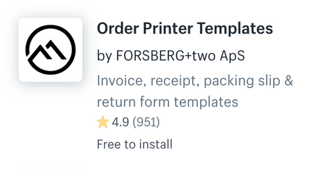 Shopify order printer template