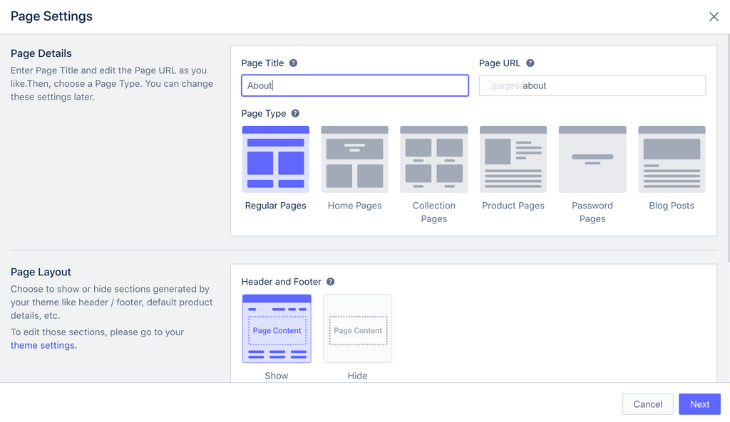 Shopify PageFly About template