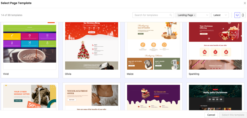 Shopify PageFly templates