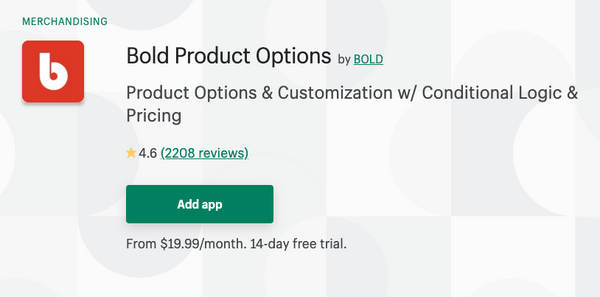 Product Options Bold Shopify App