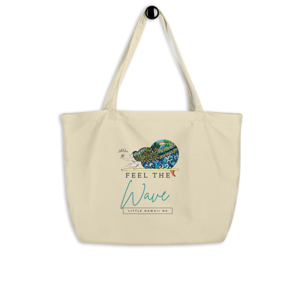 Feel the wave by little hawaii me Large organic tote bag