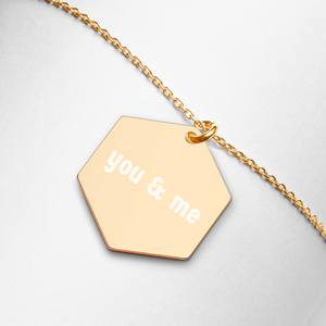 Engraved Silver Hexagon Necklace Customizable・名前入れ可能 (Free Shipping/送料無料)