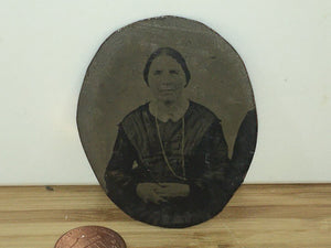 Antique Woman Metal Photo #13