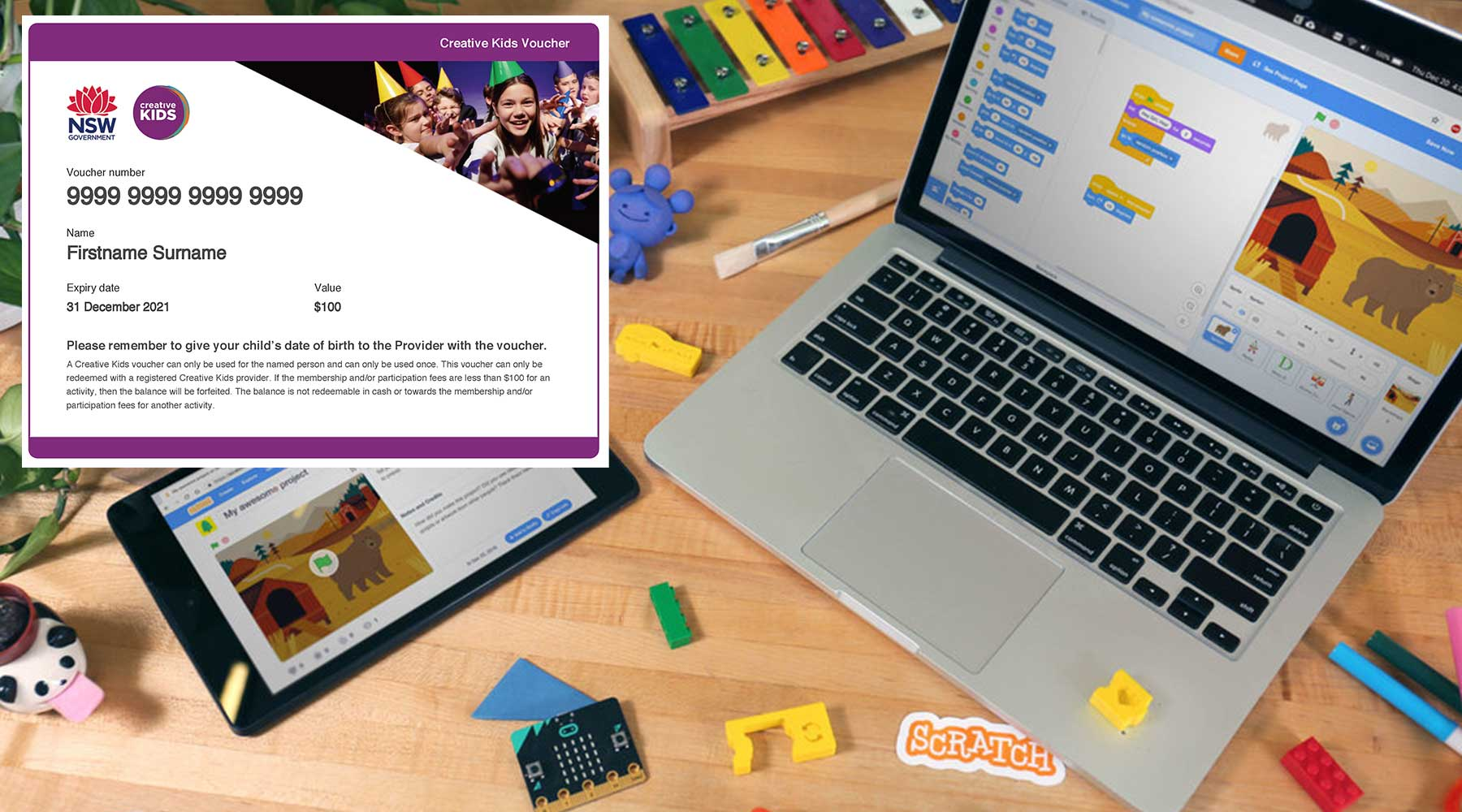 Creative Kids Online Academy - Scratch Level 1 with Creative Kids Voucher