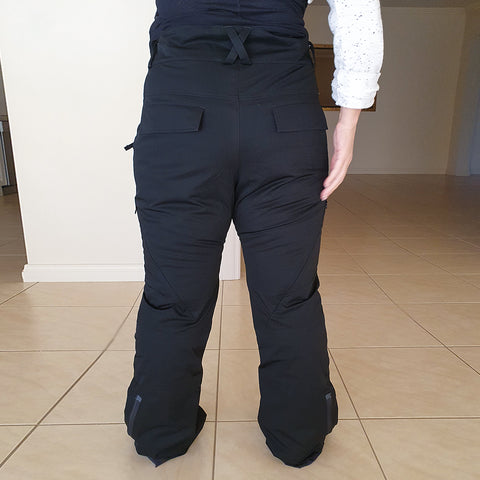 Back view of the Nobody's Princess snow pant prototype.