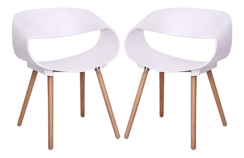 Image of Set X 2 Sillas Filigree De Comedor Patas En Madera Blanco