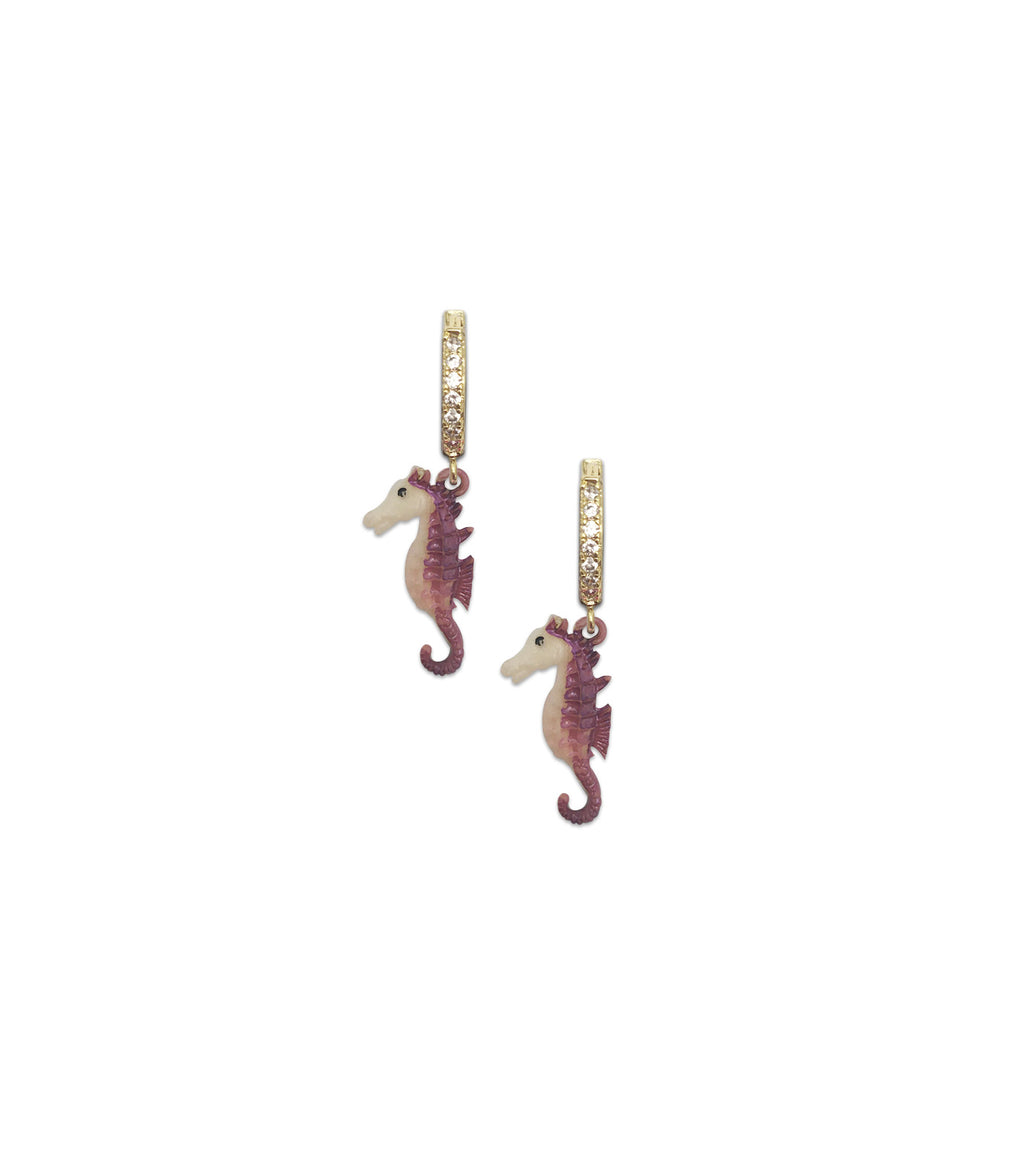 Seahorse Huggie Hoop Earrings