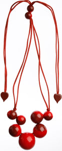 Bolas Necklace - 9 Beads - Red