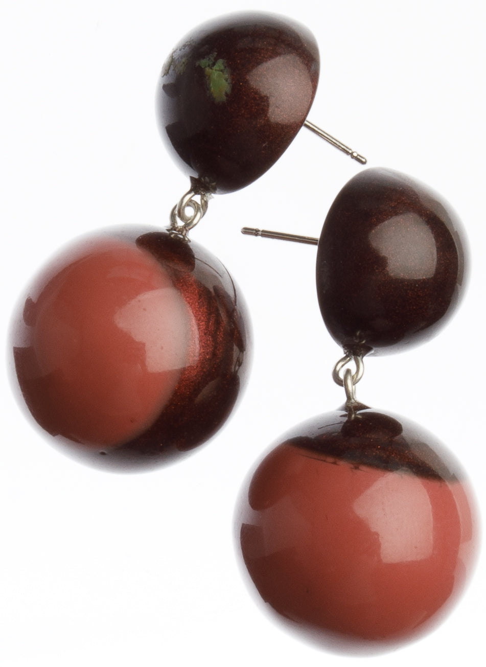 Bolas Earrings - 2 Beads - Dusty Rose