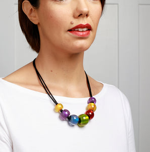 Colourful Beads Necklace - Winter Spectrum - 7 Beads