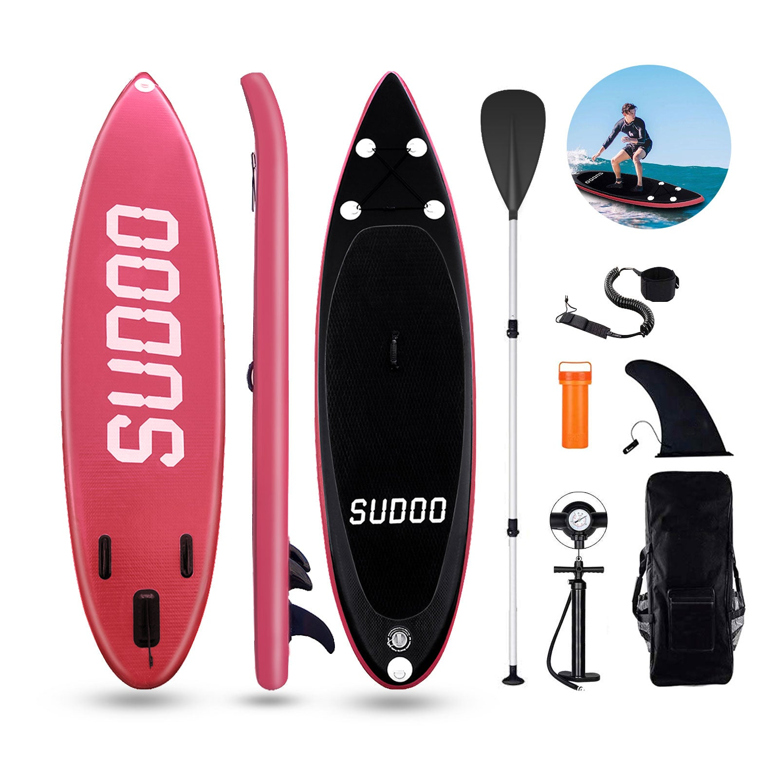 "3 Fins Inflatable 9'10"" SUP Stand Up Paddle Board Accessories With Pump Surfing Red Sudoo UK ( Will be shipped on 10th May )"