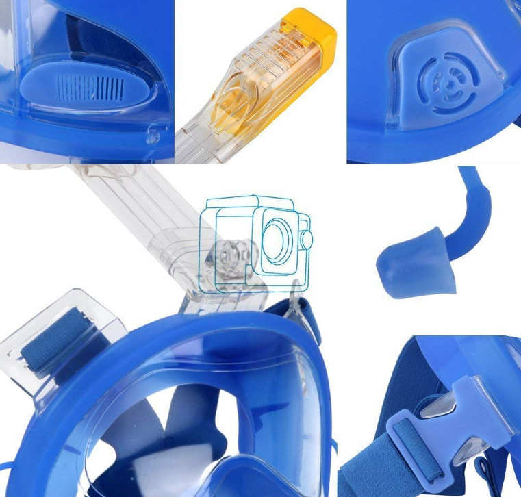 Full face diving snorkel snorkeling mask waterproof case IPX8 blue SUDOO UK