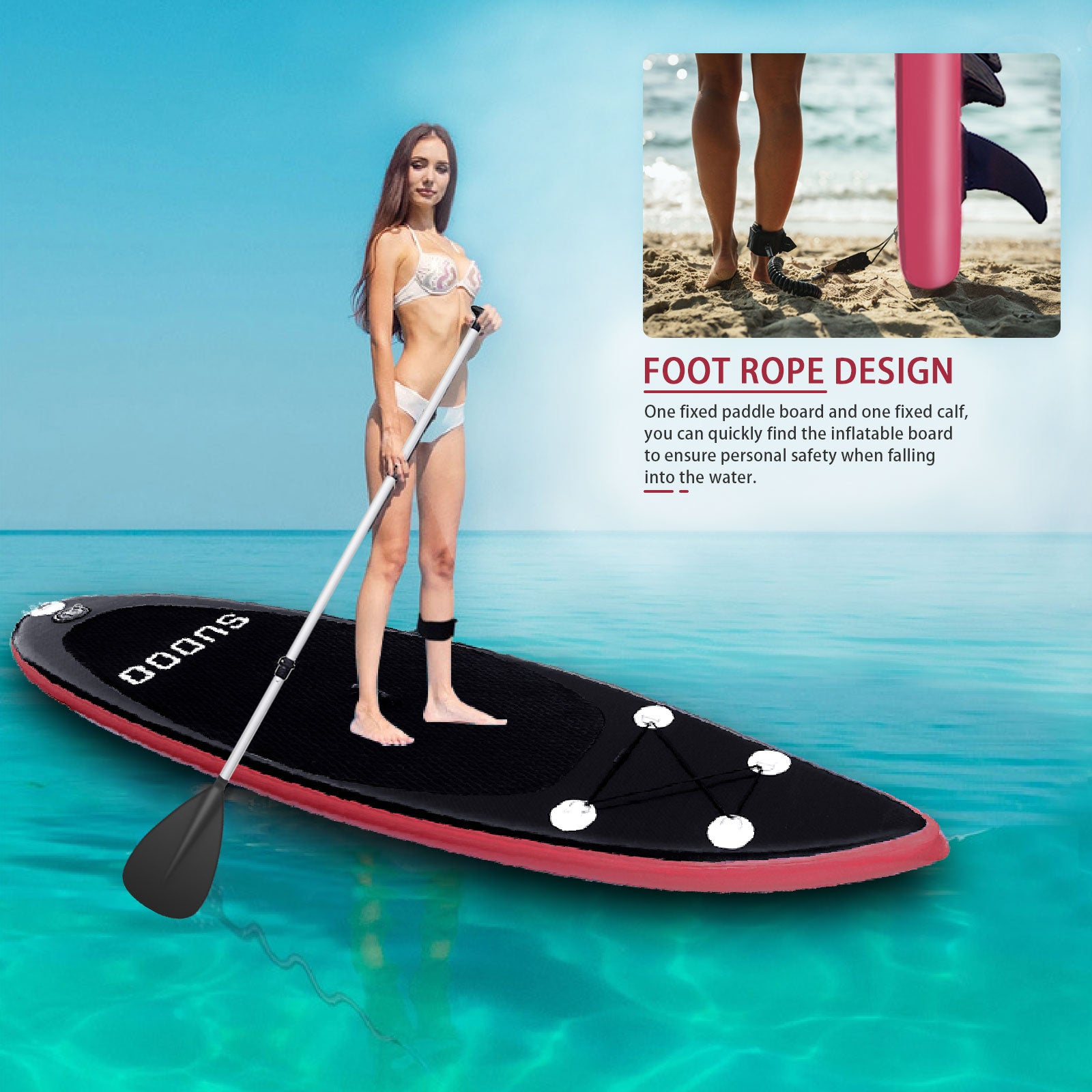 3 Fins Inflatable 10' SUP Stand Up Paddle Board Accessories With Pump Surfing Red Sudoo UK