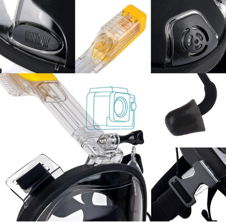 Full face diving snorkel snorkeling mask waterproof case IPX8 black SUDOO UK