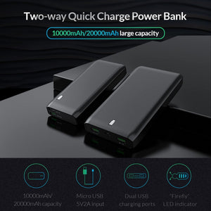 Power Bank 10000mAh 20000mAh External Battery Bank 12W Charge With Dual USB