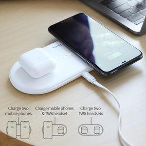 HOCO Fast Dual 2in1 Wireless Charger Pad for Airpods Pro for iPhone X XR XS 11 Pro Max Samsung S10 Xiaomi QI Induction Charging