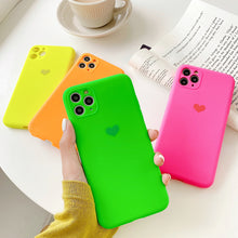 Load image into Gallery viewer, Holo Heart Neon Liquid Silicone Cases for iPhone 11 pro max 7 8 Plus xs xr x Cute Matte Fluorescence Full Cover 11pro Soft Case