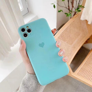 Holo Heart Neon Liquid Silicone Cases for iPhone 11 pro max 7 8 Plus xs xr x Cute Matte Fluorescence Full Cover 11pro Soft Case