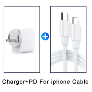 18W USB PD Charger Quick Charge 3.0 EU AU UK US Plug Power Adapter For Macbook iphone 11 Pro Samsung S20 USB Type C Charge Cable