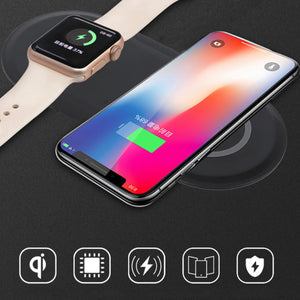 Wireless Charger Pad USB Wirless Quick Charging Phone Watch Dock Qi Wireless Charger For Apple iwacth iphone Samsung xiaomi mi