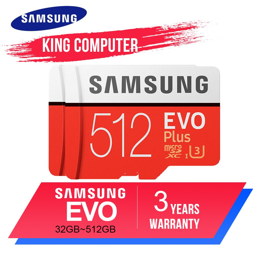 SAMSUNG  EVO Plus Memory Card 256GB 512GB  Micro SD 32G  64GB 128GB Class10 MicroSD Card C10 UHS-I Trans Flash Micro SD Card