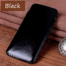 Load image into Gallery viewer, Real Leather Pull Sleeve Pouch Phone Case for Apple iphone 7 8 Plus X Xs XR Xs Max
