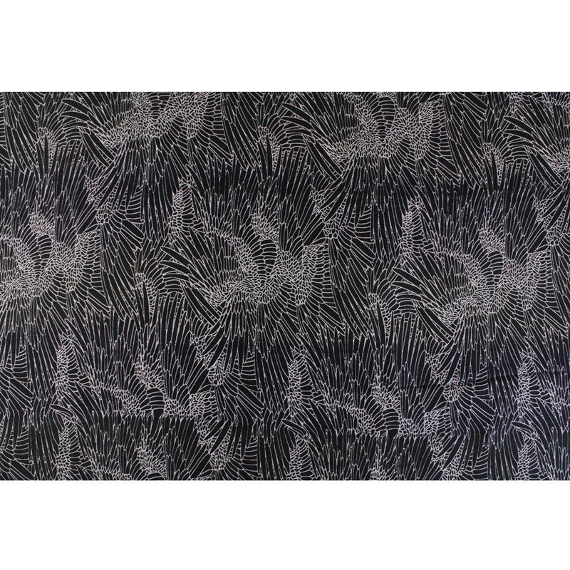 FFAB Remnant Collection | Digital Print on Dupion Silk Fabric | Black Color | 3 Mtr Piece