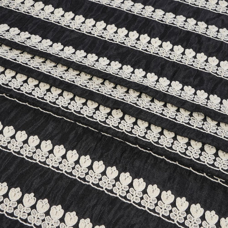 FFAB Remnant Collection | Embroidered Polyester Fabric | Black Color | 1.50 Mtr Piece