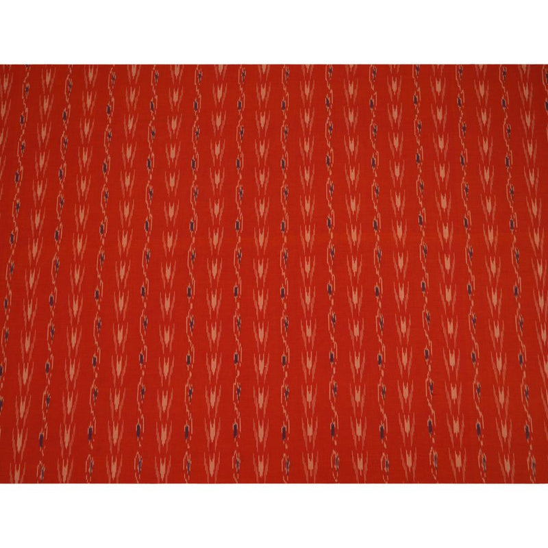 FFAB Remnant Collection | Handwoven Ikat Cotton Fabric | Orange Color | 1.20 Mtr Piece