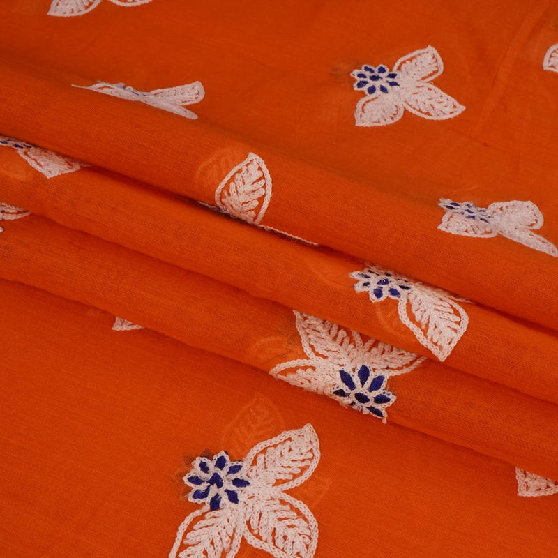 FFAB Remnant Collection | Embroidered Fine Chanderi Fabric | Orange Color | 2.50 Mtr Piece