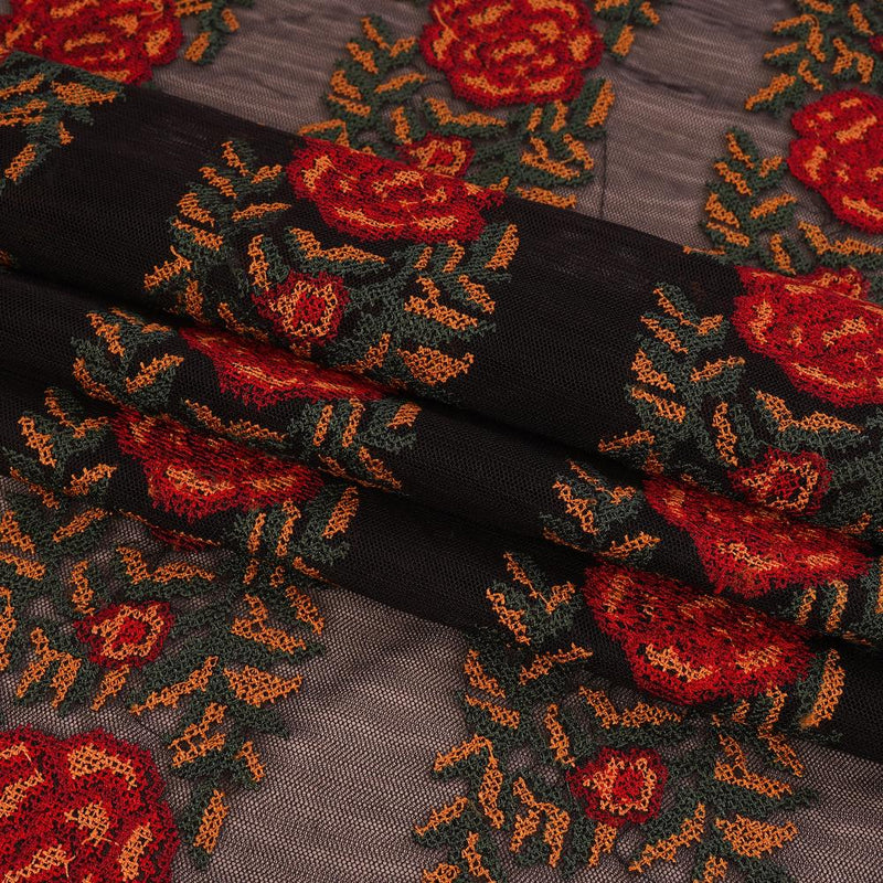 FFAB Remnant Collection | Embroidered Nylon Net Fabric | Black Color | 0.95 Mtr Piece