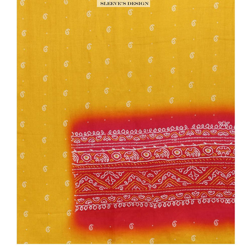 FFAB Unstitched Suit Collection | Chanderi Fabric | Digital Printed | Yellow Color | With Dupatta