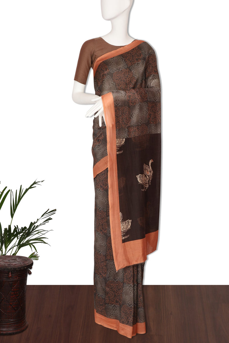 FFAB Saree Collection | Digital Printed Chanderi Saree With Blouse Piece | Multi Color