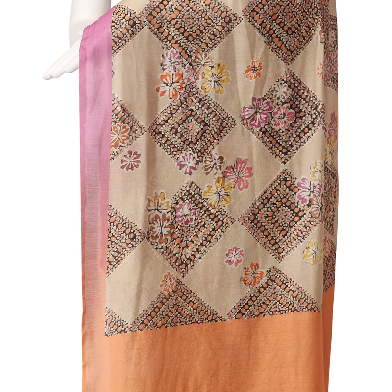 FFAB Saree Collection| Digital Printed Chanderi Saree With Blouse Piece | Multi Color